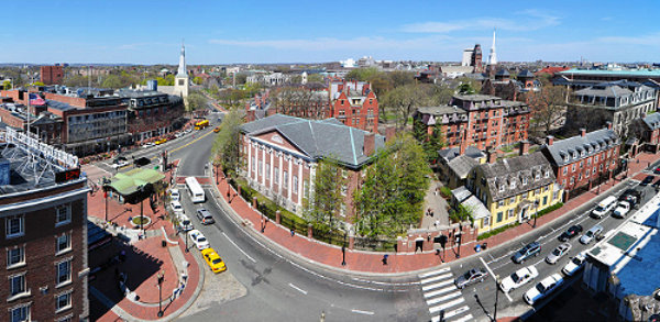 Harvard Yard viewed from Harvard Square
